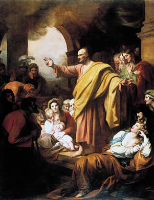 Artist's impression of Peter preaching at Pentecost, by Benjamin West (1738-1820)