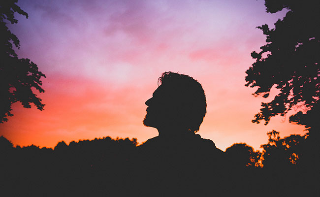Silhouette of a man alone